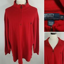 POLO RALPH LAUREN Men's 3XB BIG Red w/ Blue Pony Logo Half Zip Sweater Jacket