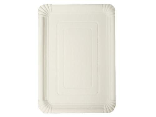 500 Pappteller Kuchenteller weiß eckig 24 x 34 cm Teller Frischfaser 272433