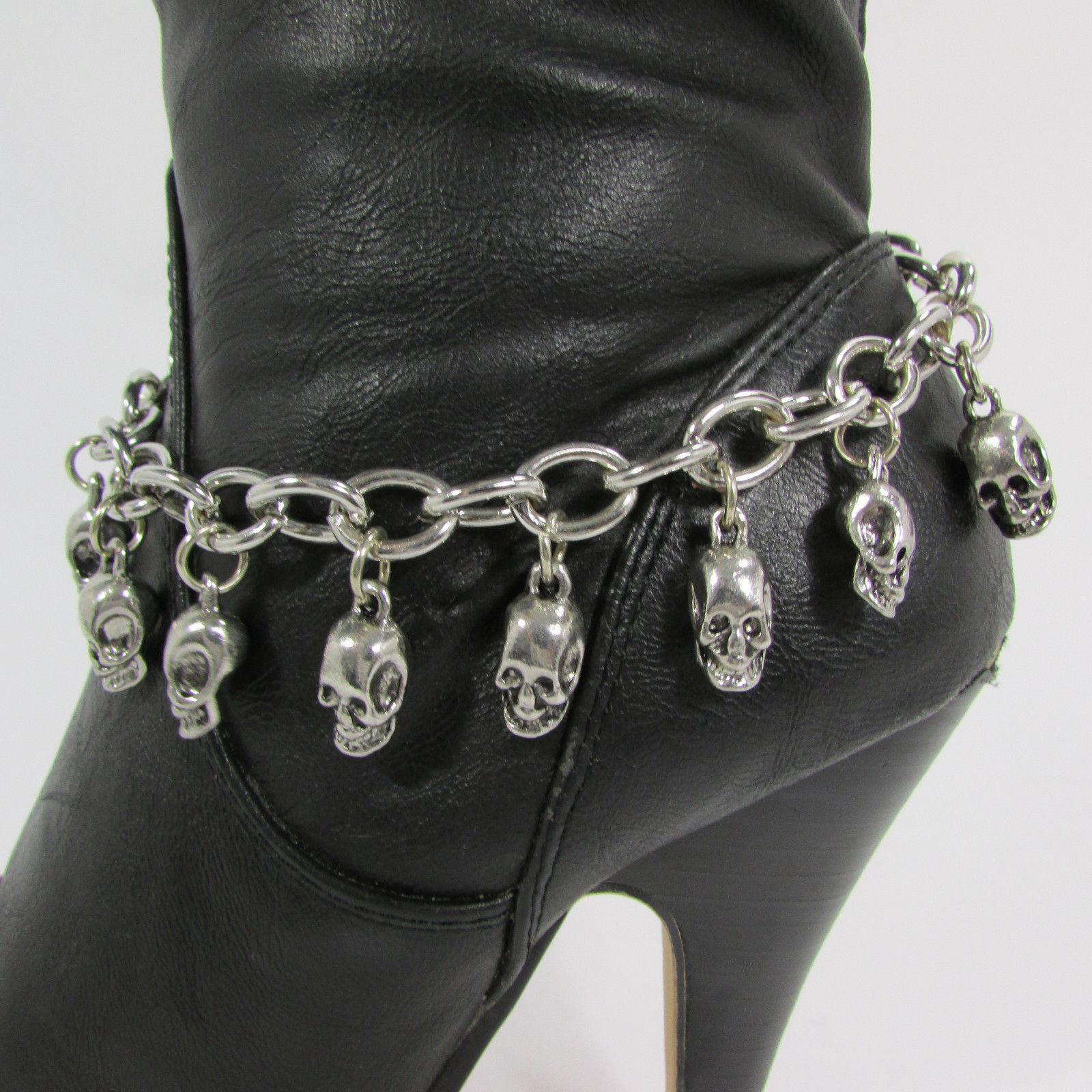 Women Fashion Boot Chain Bracelet Strap Silver Metal Shoe Mini Skull Punk Charm