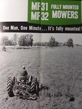 Massey Ferguson Farm Tractor Mf31 Mf32 Rear Sickle Mower Sales Brochure Manual