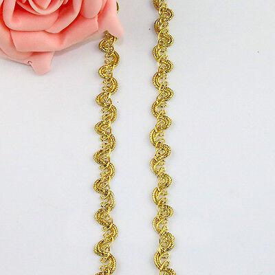 10 Meters Gold Line Gimp Braid Lace Edge Trim Ribbon Dress Applique Sewing DIY