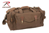 Rothco 9689 Brown Canvas Leather Accents Long Weekend Tactical Travel Bag