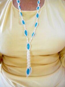 """Authentic Vintage 1950's White Faux Pearl & Aqua 38"""" LONG Necklace"""