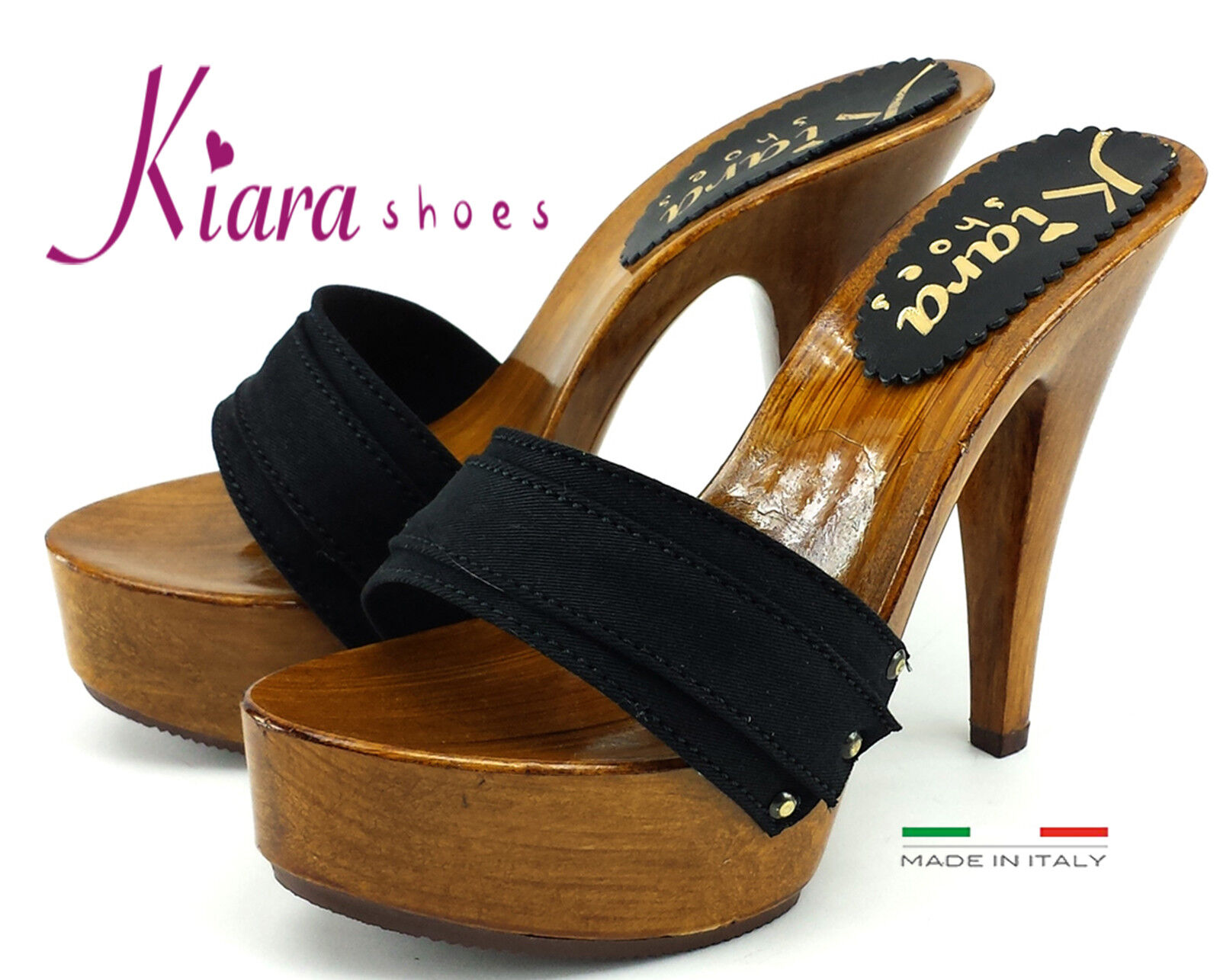 Sandalias Zuecos Alto - Made in Italy 35 al 42-K9101-NERO