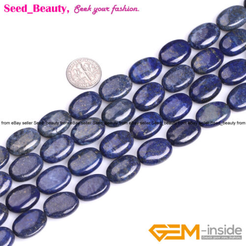 "Oval Flat Lapis Lazuli Stone Loose Beads for Jewelry Making Strand 15/"" Enhance"