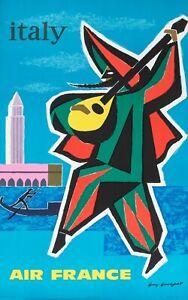 Original Vintage Poster-Guy Georget-Italie-Venise-Carnaval gondolia 1963