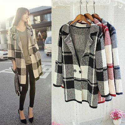 Womens Casual Long Sleeve Cardigan Knit Knitwear Plaid Sweater Coat Outwear Tops