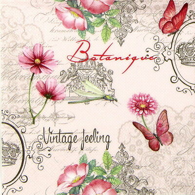 """4x Single Table Paper Napkins for Party, Decoupage, Craft """"Vintage Feeling"""