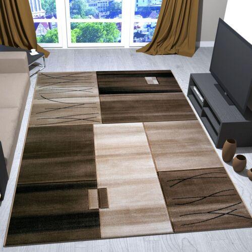 Alfombra moderna de diseño clásico cuadrados y rayas marrón y beige