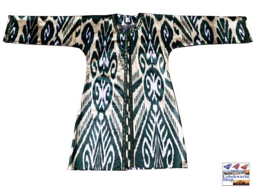 Vintage uzbek traditional women light jacket kaftan robe silk satin ikat fabric