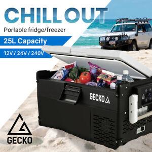 GECKO 25L Portable Fridge Freezer Cooler Camping 12V/24V/240V Boating 4WD for