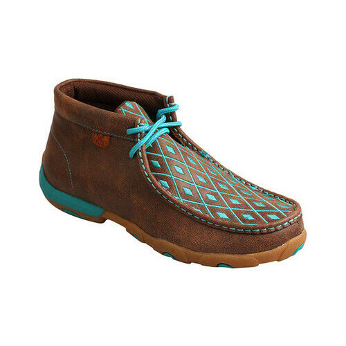 Brown//Turquoise Twisted X WDM0072 Women's Driving Moccasins Chukka