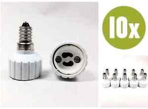 10-x-Adapter-E14-GU10-Lampenfassung-Konverter-Sockel-Lampensockel-Fassung-10x