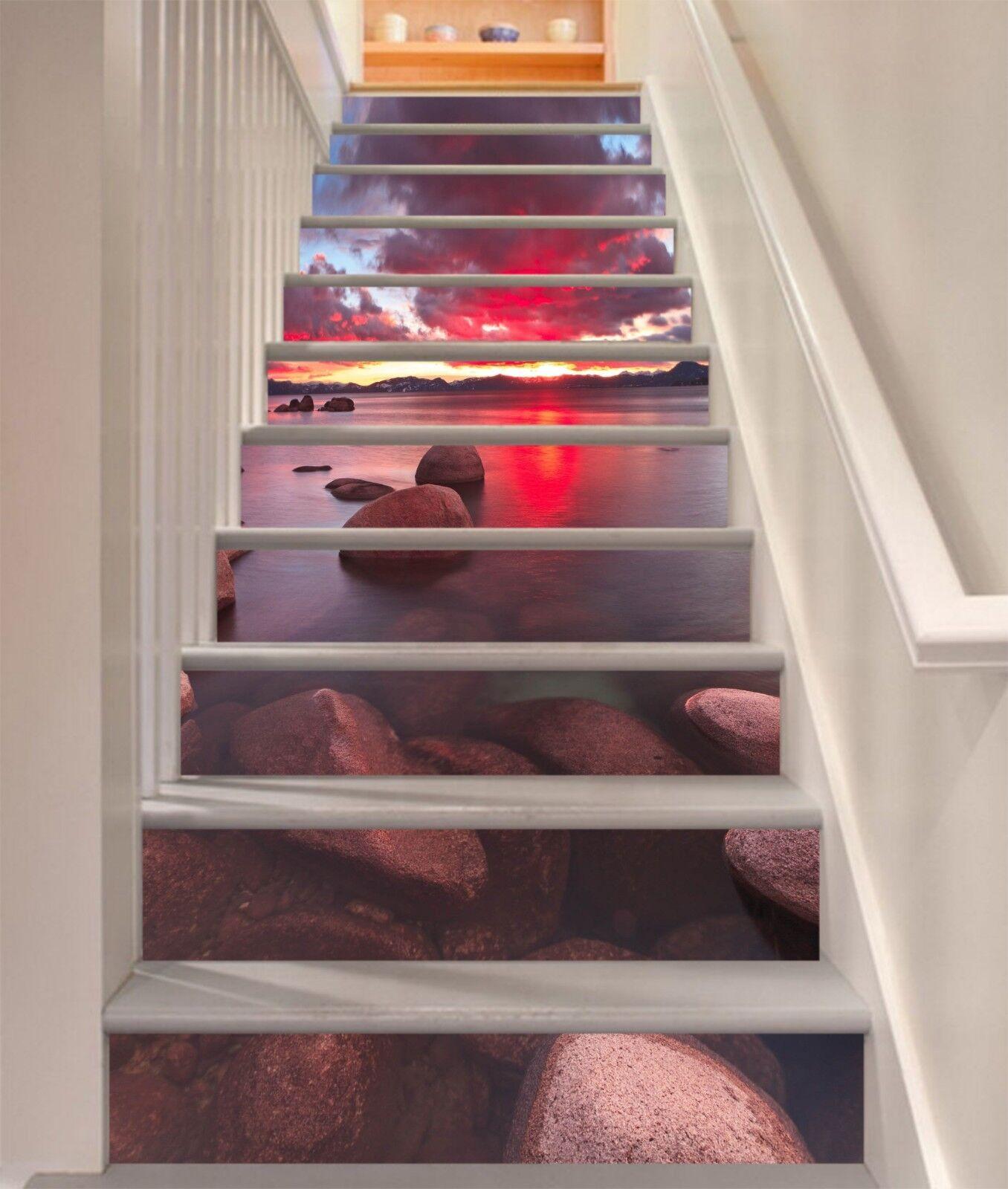 3D Schöne Bucht 295 Stair Risers Dekoration Fototapete Vinyl Aufkleber Tapete DE