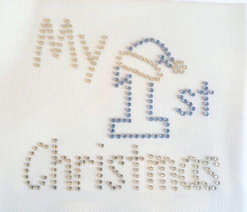 MY 1ST CHRISTMAS xmas stocking Iron On Hotfix Rhinestone Diamante Transfer BLUE