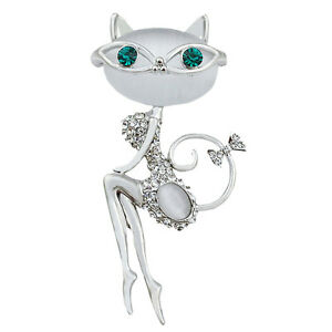 Opal-Rhinestone-cristal-pequeno-gato-broche-PIN-animal-lindo-sexy-joyeSTG