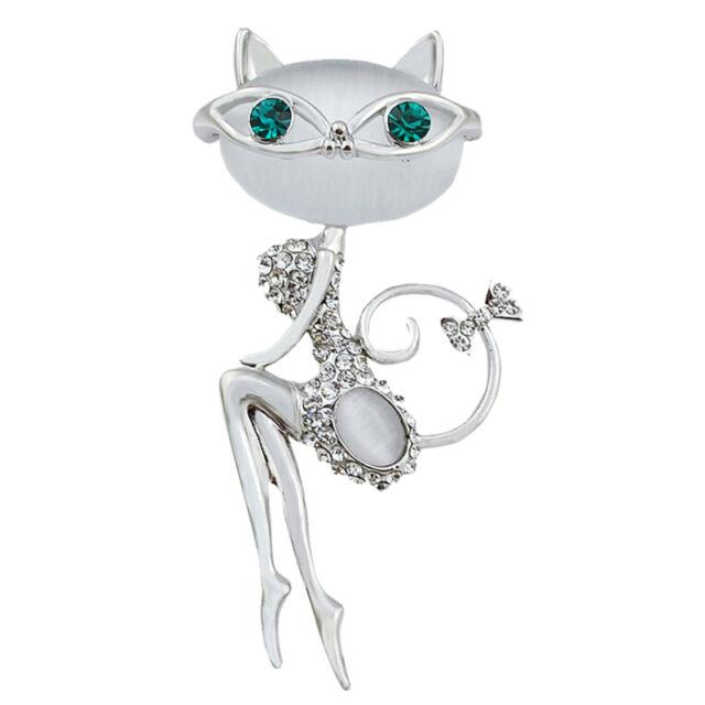 Opal Rhinestone cristal pequeño gato broche PIN animal lindo sexy joyeSTG