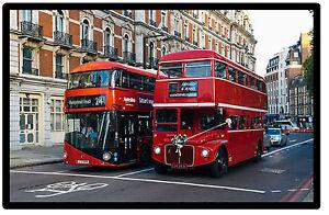 LONDON BUS (OLD & NEW) - NOVELTY SOUVENIR FRIDGE MAGNET - SIGHTS / NEW / GIFTS