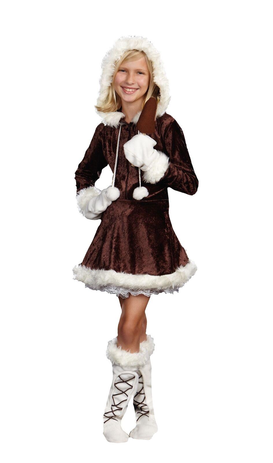 Eskimo Cutie Pie Child Girls Costume Velvet Christmas Fancy Dress