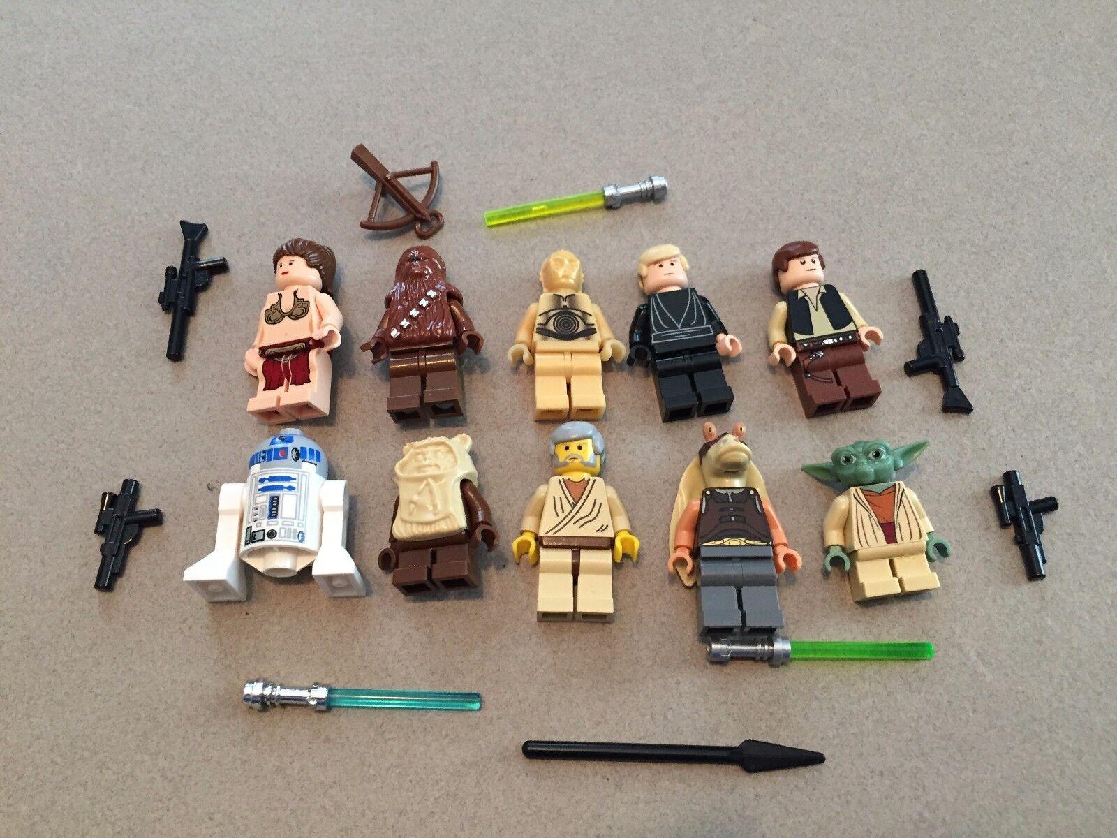 LEGO lot of 10 Star Wars Good Guy Minifigs Yoda Luke Leia Han R2-D2 Chewie N306