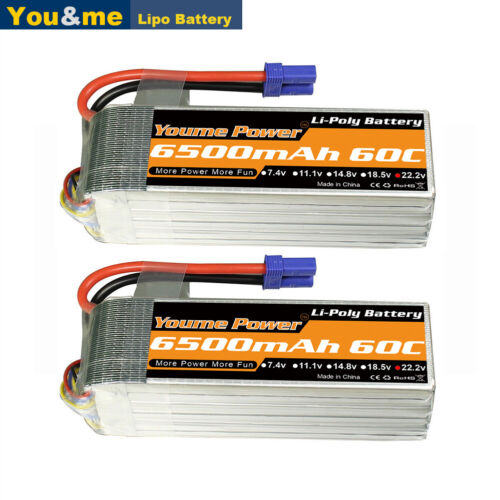 2pcs Youme 22.2V 6S 6500mAh LiPo Battery 60C EC5 Plug for RC Helicopter Drone