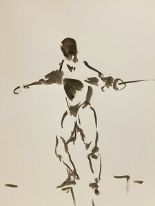 JOSE-TRUJILLO-ABSTRACT-EXPRESSIONISM-INK-WASH-on-Paper-Fencing-Figure-Sport-Art