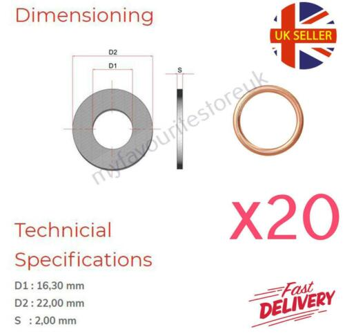 20 x M16 Copper Compression Washers Metric Hollow Crush Washer Sump Sealing