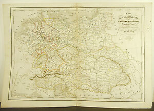 Germany-Empire-Austria-Ry-Prussian-Card-Antique-1838-Ancient-Map-17-11-16in