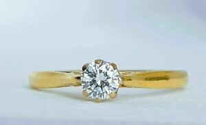 18k Yellow Gold Solitaire 0.23ct Natural Diamond Engagement Wedding Ring (VS2/H)