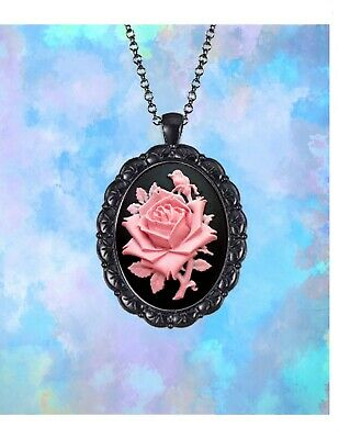 Kwanzaa gift black pink locket African cameo locket necklace gift ideas for mom antique silver cameo jewelry antique brass locket