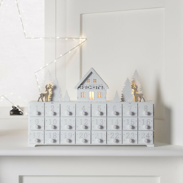 pre lit traditional wooden christmas led advent calendar decoration with drawers - Wooden Christmas Advent Calendar