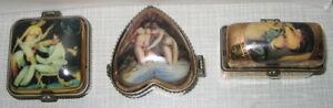 3 Erotik Dose Porzellandose Pillendose Sexy Sammlerdose Intimschmuck Antik 4-7cm