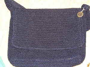 The Sak Navy Crochet Shoulder Bag Ebay