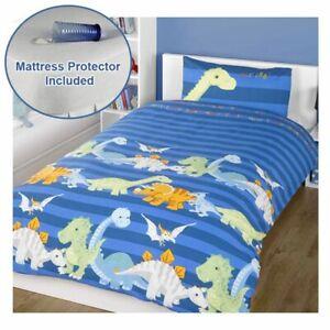 Dinosaures-Bleu-Housse-de-Couette-Junior-Set-Bebe-Lit-Matelas-Protecteur