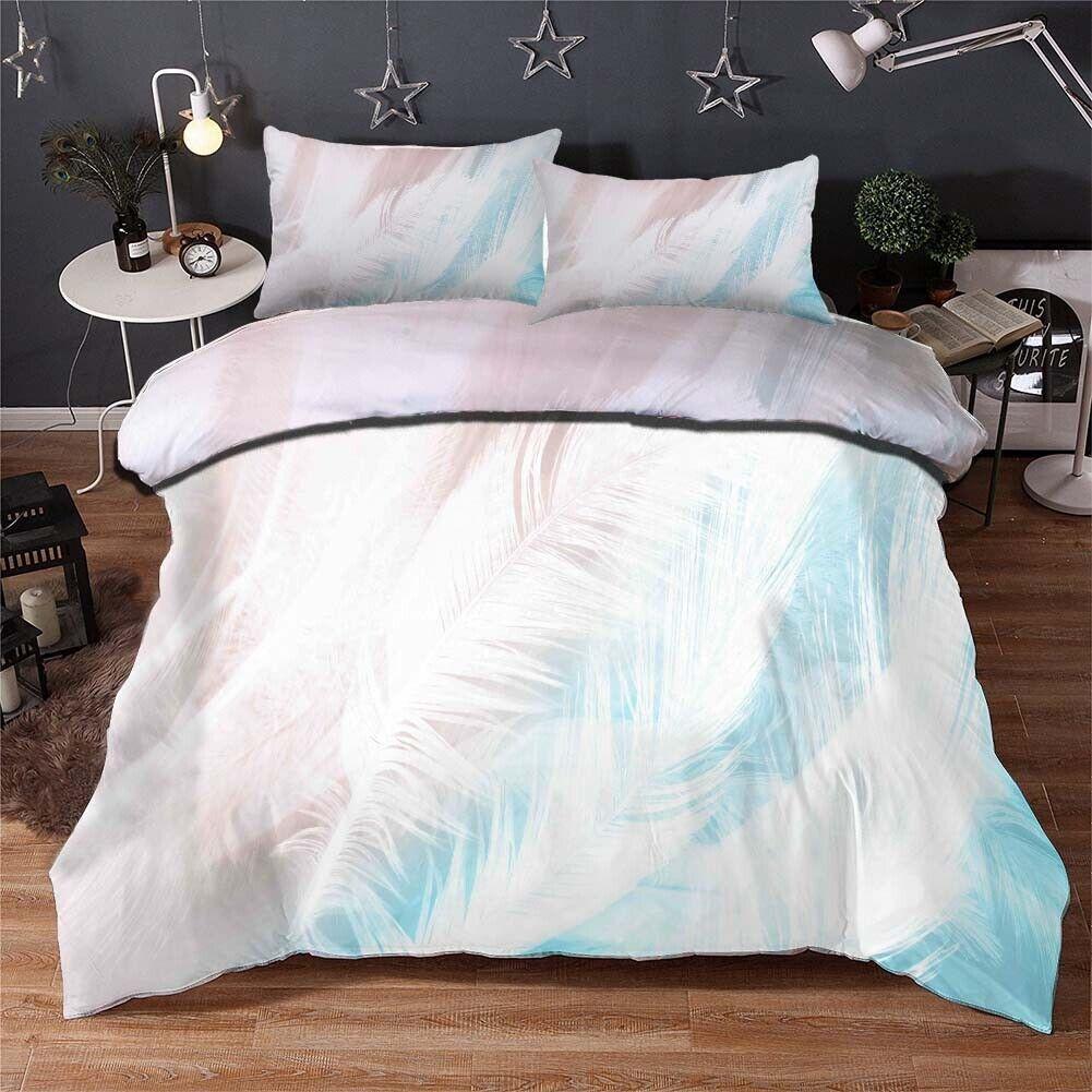 Light Loose Feathers 3D Print Duvet Quilt Doona Covers Pillow Case Bedding Sets