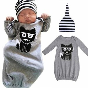 f43e05f97f09 Newborn Kids Baby Boys Girls Sleepwear Pajamas Robe Gown Hat Clothes ...