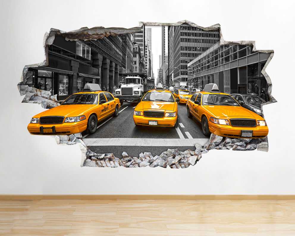 Z077 New York City NYC Gelb Cab America Wall Decal Poster 3D Art Stickers Room