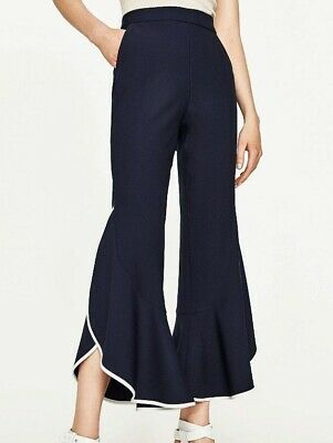 ZARA TROUSERS HIGH WAIST CONTRASTING FRILLED REF 3027 295