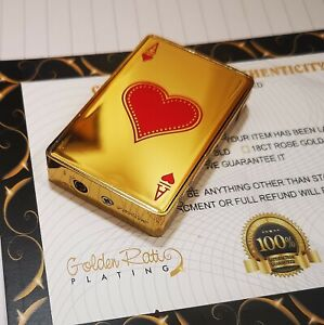 24k Gold Plated Metal Ace Of Hearts Poker Cards Cigar Lighter Refillable 24k