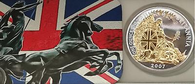 2004 UK £2 SILVER BRITANNIA 24K GOLD GILDED 1 Oz EDITION .958 COIN