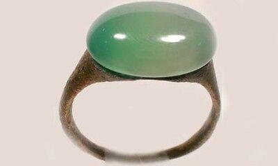 AD300 Roman Carthage (Tunisia) Sz9¼ Ring + 19thC Antique 7ct Siberia Green Agate
