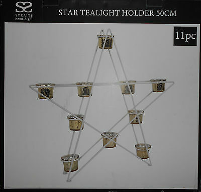 White Metal Star Gold Effect Mercury Glass Tealight Candle Holder Christmas