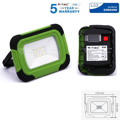 Logico Faretto Led Smd 10w Ricaricabile Portatile A Batteria Colore Verde Ip44 V Tac Per Soddisfare La Convenienza Delle Persone