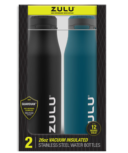 Stainless Vacuum Insulated Water Bottle 2 Pack Leakproof One Touch ZULU 26 oz