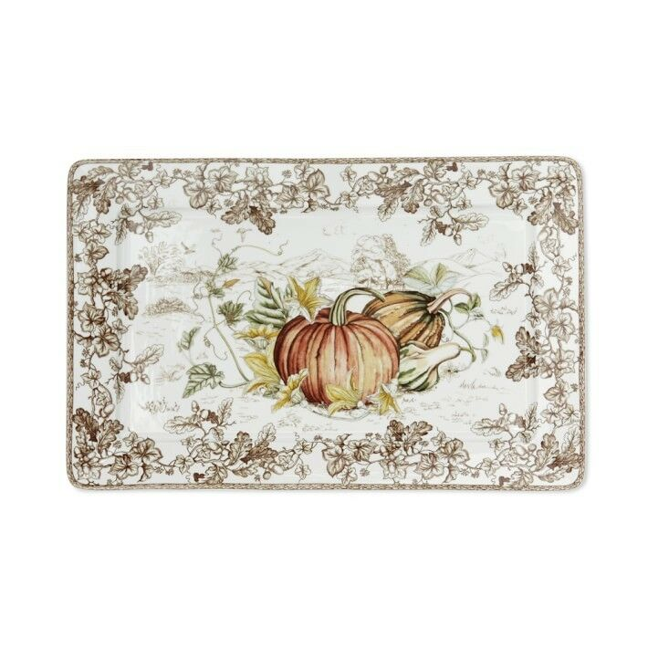 New in Box Williams Sonoma Plymouth HARVEST PUMPKIN rectangulaire 10x16  Plateau