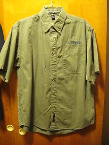 Nascar embroidered short sleeve olive green button down for Olive green oxford shirt