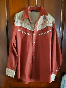Mens-Vintage-Pearl-Snap-Shirt-Stable-Gear-Cowboys-Long-Sleeve-Shirt-Western-Top