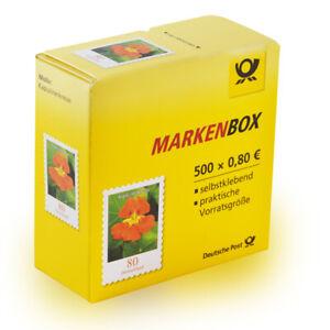 500-Stueck-0-80-EUR-postfrische-selbstklebende-Briefmarken-in-Briefmarkenbox