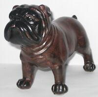 Bulldogge o. Mops, stehend, Deko Figur, dunkelbraun, 18x14x8cm