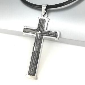 Silber-Schwarz-Edelstahl-Kreuz-Anhaenger-Damen-Herren-Leder-Halsketten-Lederband